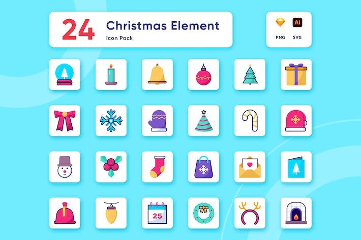 Thumbnail for Рождественские предметы и украшения Icon Коллекция