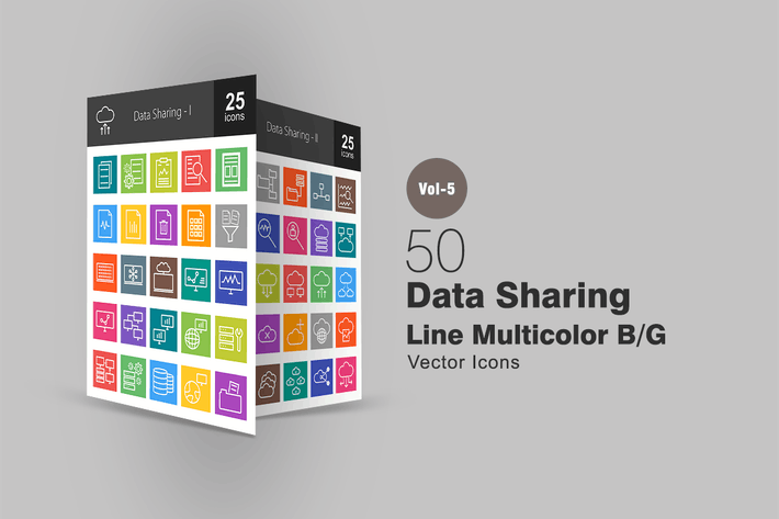 Thumbnail for 50 Data Sharing Line Multicolor Icons