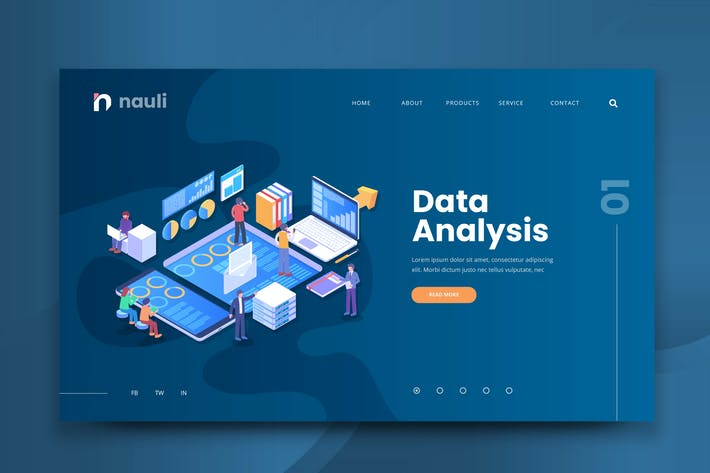 Thumbnail for Isometric Data Analysis Web PSD and AI Template