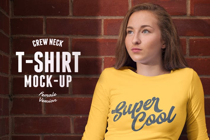 Thumbnail for Crew Neck T-shirt Mock-up Female Version