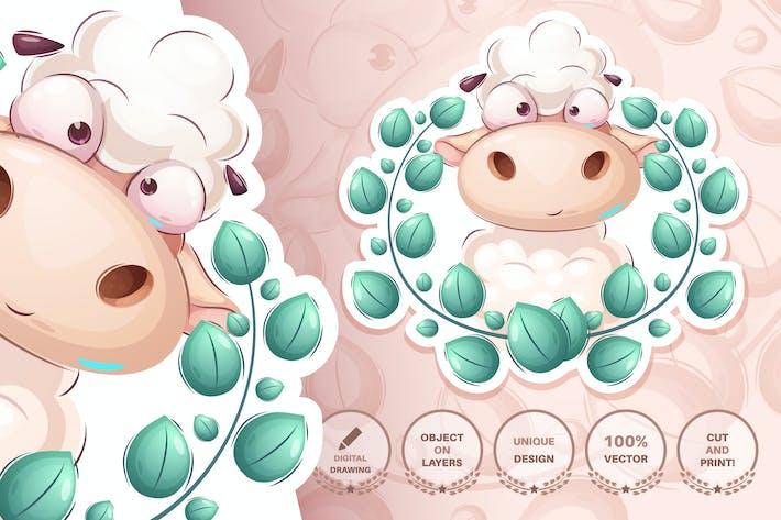 Childish sheep - seamless pattern