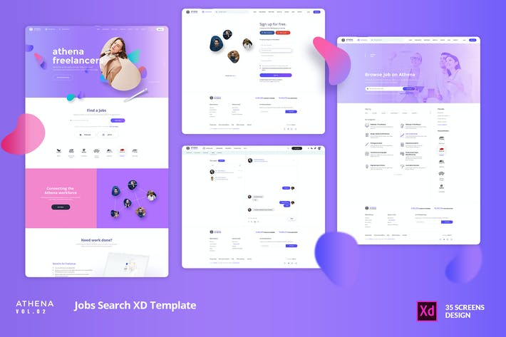 Thumbnail for ATHENA Vol.02 -Freelancer Jobs Search XD Template