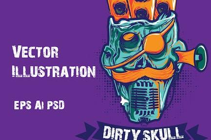 Dirty Skull Illustration Vektor