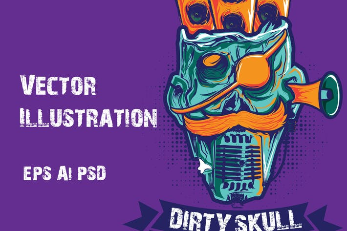 Thumbnail for Dirty Skull Illustration Vector