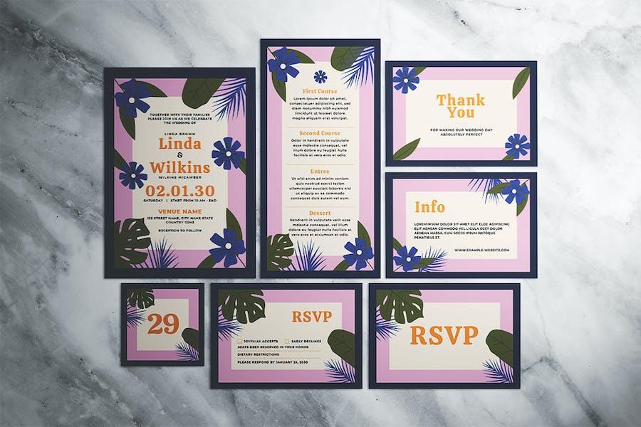 Floral Pop Wedding Invitation Suite