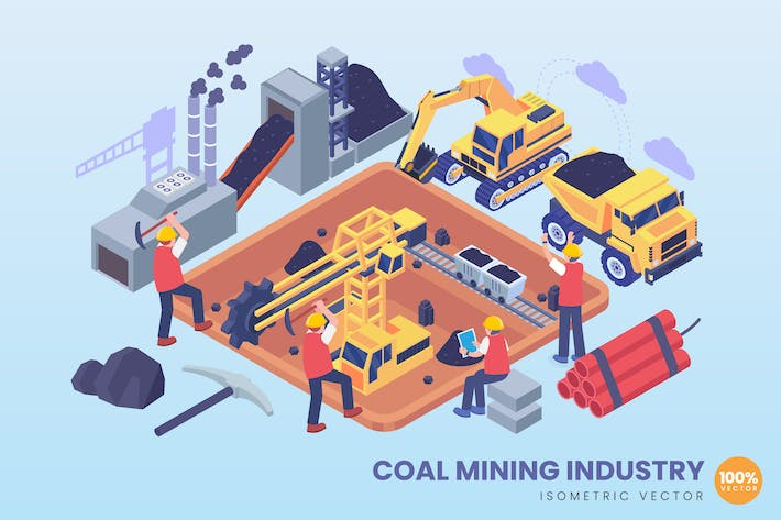 Thumbnail for Isometric Coal Mining Industry Concept