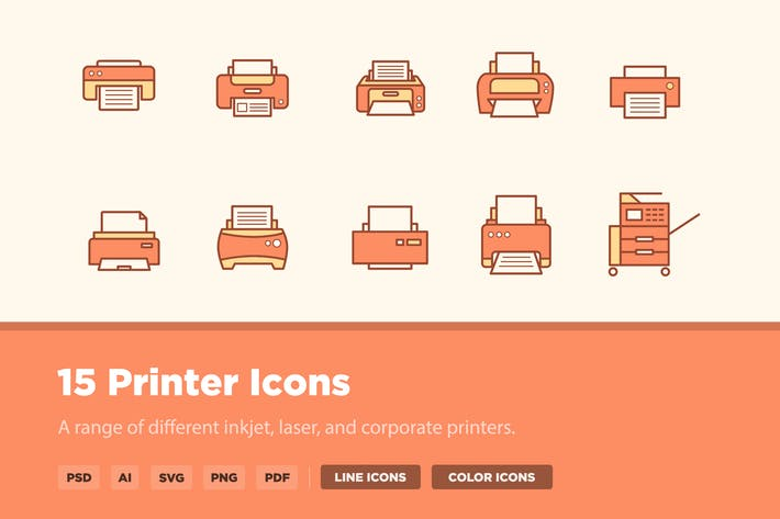 Thumbnail for 15 Printer Icons
