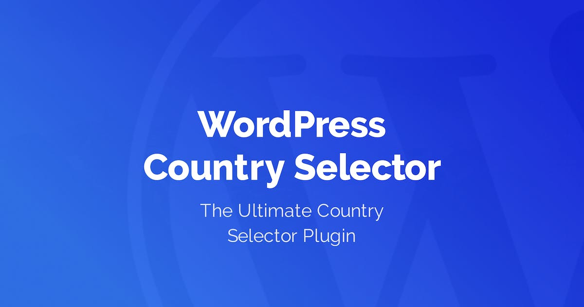 Download WordPress Country Selector by welaunch