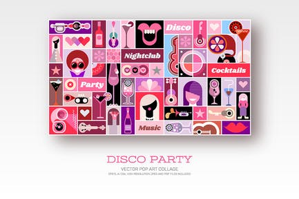 Disco Party Vektor Pop Art Collage