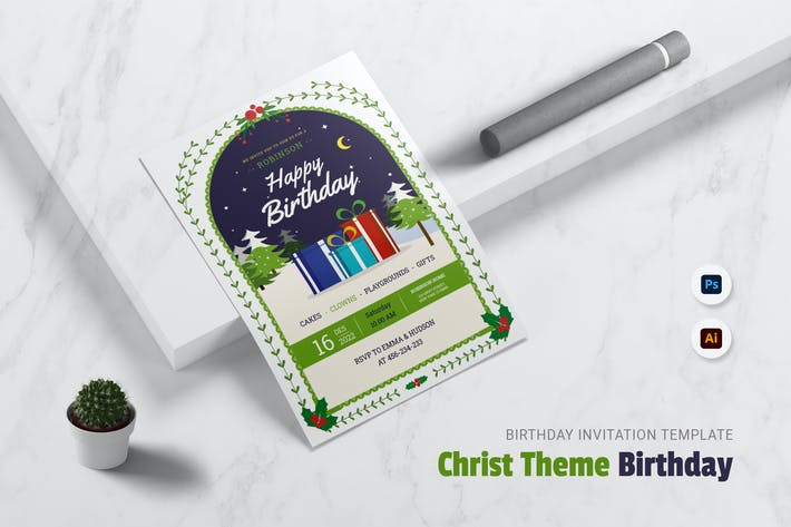 Thumbnail for Christ Theme Birthday Invitation