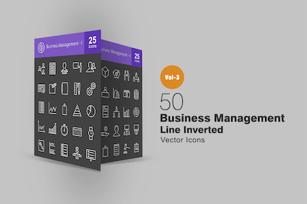 50 Business Management Line Inverted Icons