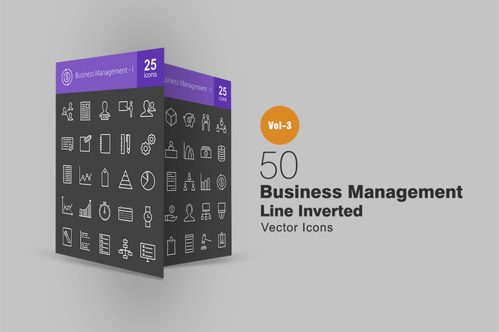 Thumbnail for 50 Business Management Line Inverted Icons