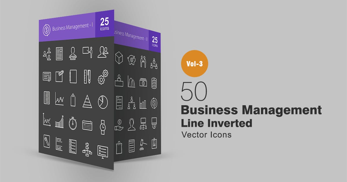 50 Business Management Line Inverted Icons by Unknow
