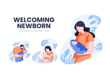 Welcoming Newborn Vector Character Set