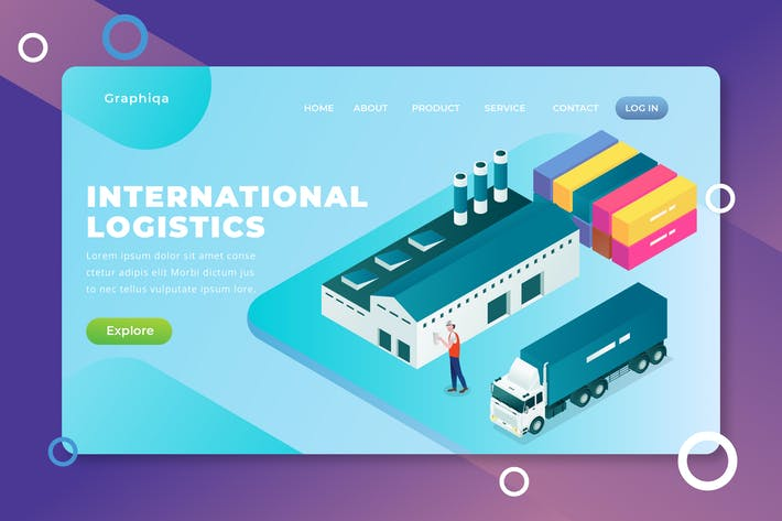 Thumbnail for International Logistics - XD PSD AI Landing Page