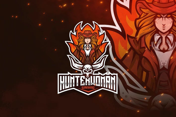 Thumbnail for Hunter Woman Esport Logo Template