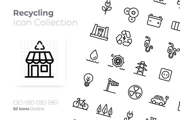 Thumbnail for Recycling Outline Icon