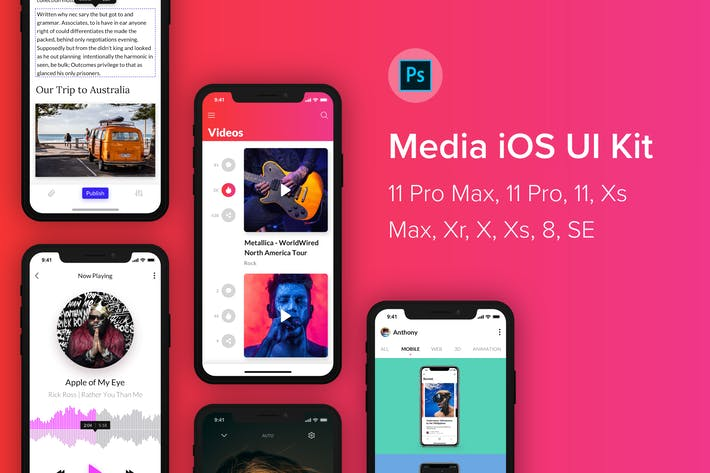 Thumbnail for Media iOS UI Kit (Photoshop)