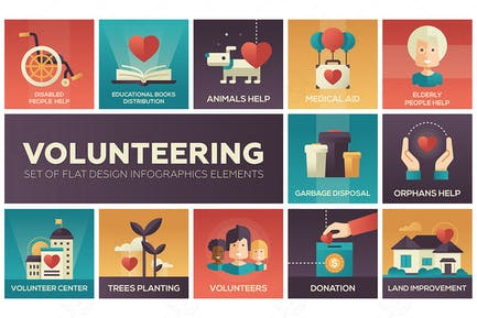 Volunteering - set of flat design elements