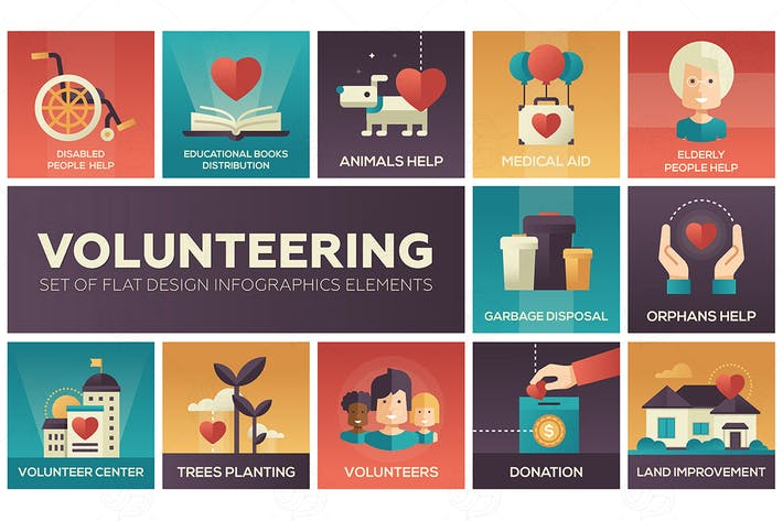 Thumbnail for Volunteering - set of flat design elements