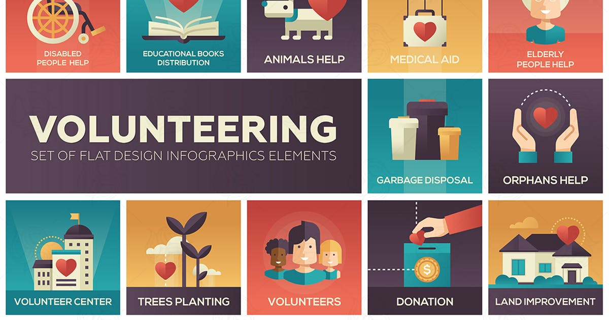 Download Volunteering - set of flat design elements by BoykoPictures