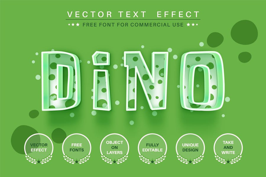Kids dino - editable text effect, font style