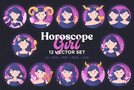 Horoscope Girl Vector Set