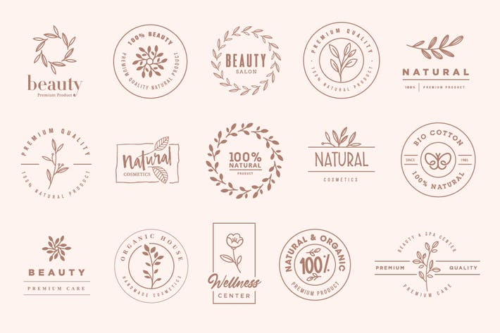 Thumbnail for Set of elegant badges and stickers for beauty