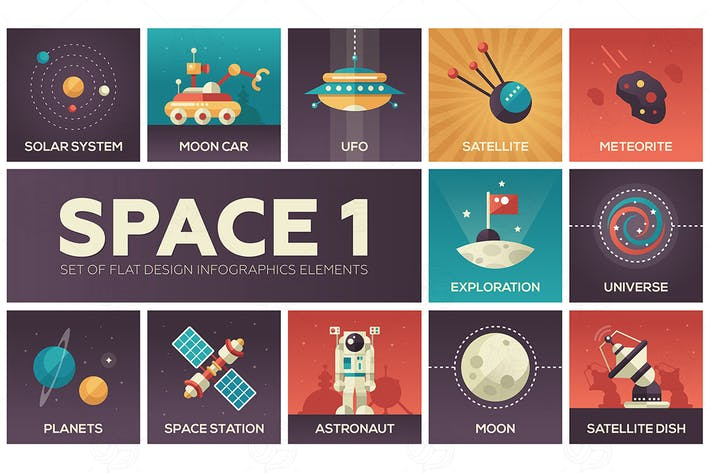 Thumbnail for Raum - Satz von flachen Design-Infografiken Elemente