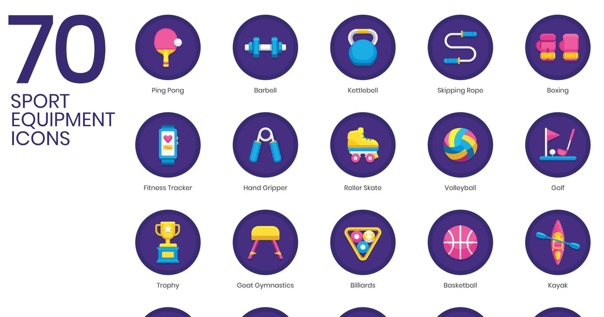 Download 70 Sport Equipment Icons | Orchid Series by Krafted