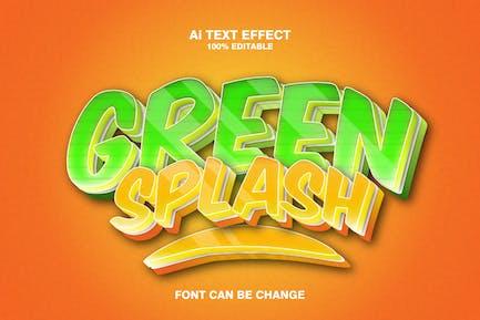 green splash 3d text effect