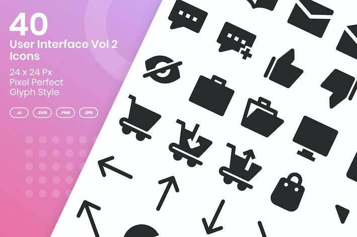 40 Пользовательский интерфейс Vol 2 Набор Иконки ков - глиф