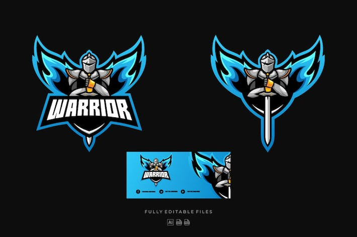 Thumbnail for Warrior Sports and E-sports Style Logo Template