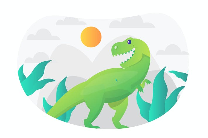 Thumbnail for Tyrannosaurus Rex Flat Illustration