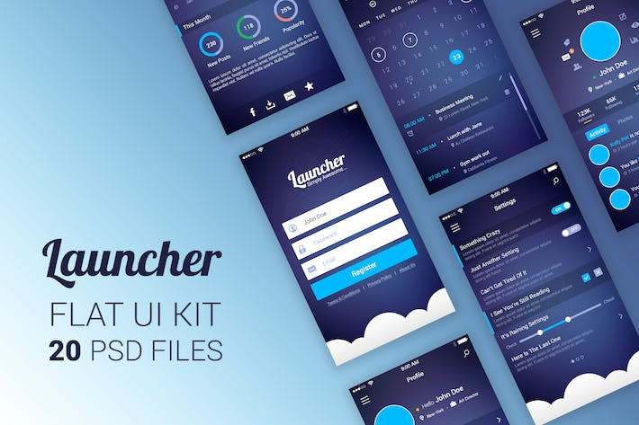 Cover Image For Launcher Flat UI Kit