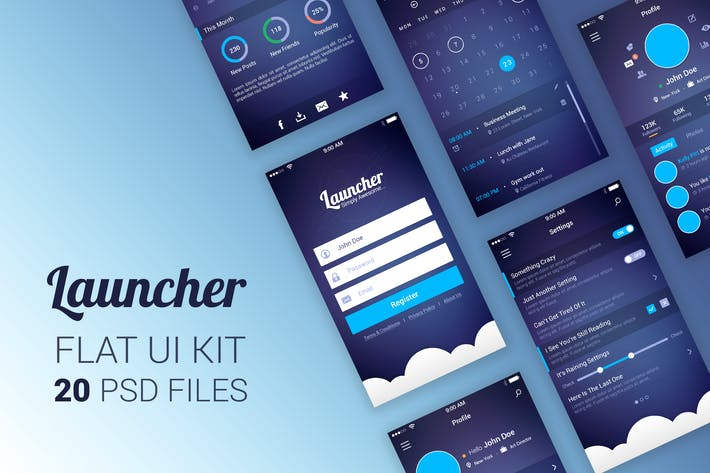 Thumbnail for Launcher Flat UI Kit