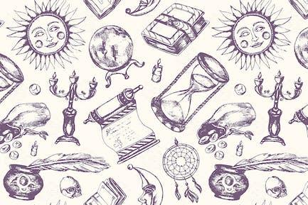 Mystical Arts - hand drawn seamless pattern