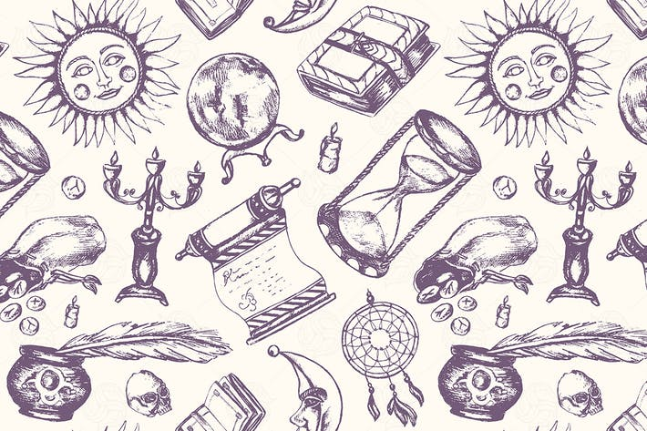 Thumbnail for Mystical Arts - hand drawn seamless pattern