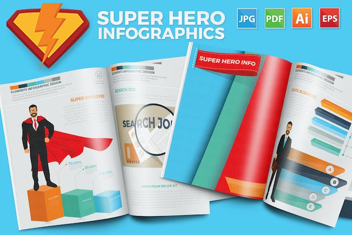 Thumbnail for Super Hero Infographics Design 17 Pages