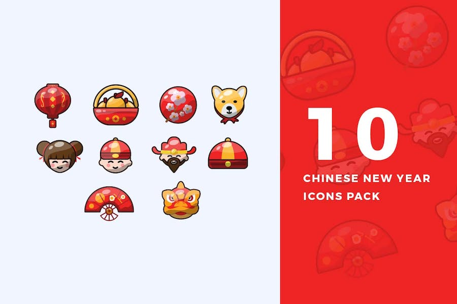10 Flat Chinese New Year Icons Pack