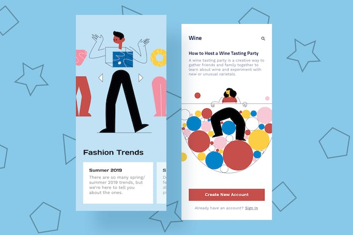 Thumbnail for Fashion Mobile Interface Illustrations
