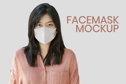 Woman Wearing a Face Mask Mockup