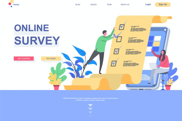 Thumbnail for Online Survey Landing Page Template