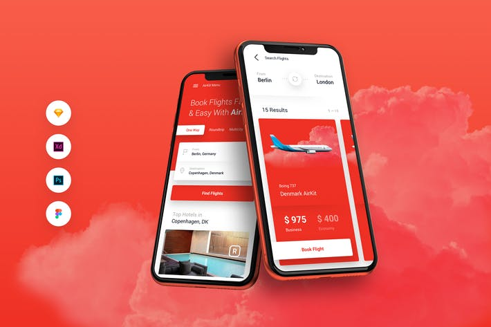 Thumbnail for AirKit Flight Travel Booking iOS & Android UI Kit