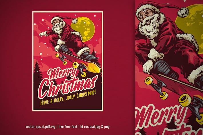 Thumbnail for hand drawn style of santa claus skateboarding