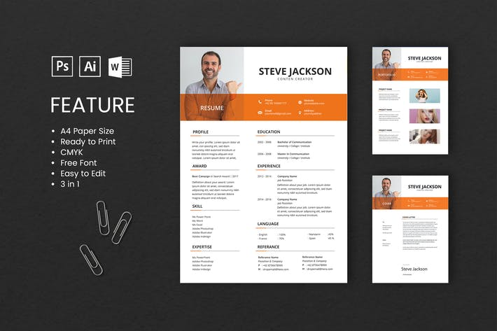 Cover Image For Professional CV And Resume Template Steve