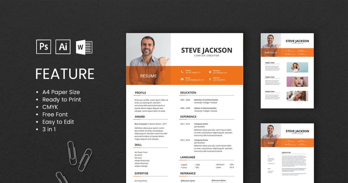 Download Professional CV And Resume Template Steve by WPBootstrap