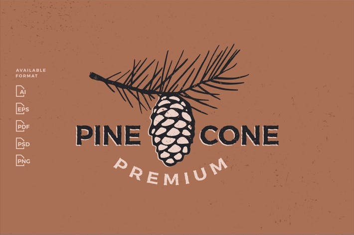 Pine Cone Conifer Vintage Aesthetic Logo