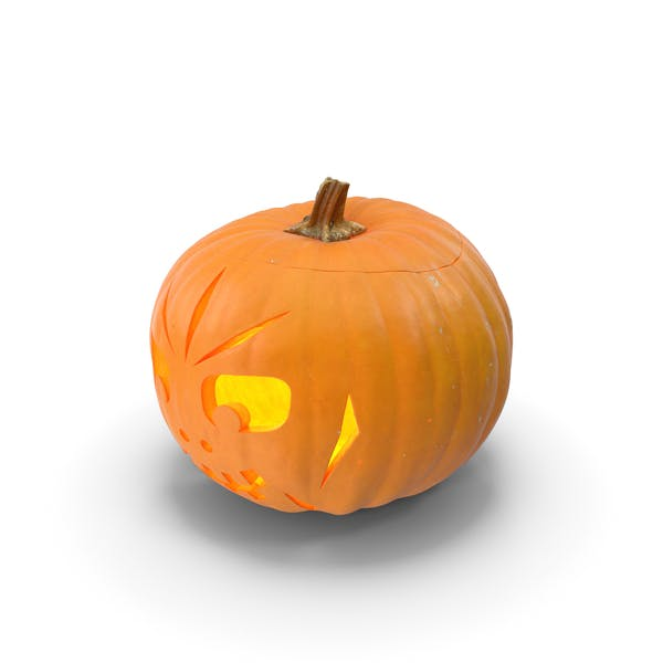 Thumbnail for Jack O Lantern Pumpkin with Carved Face Lit