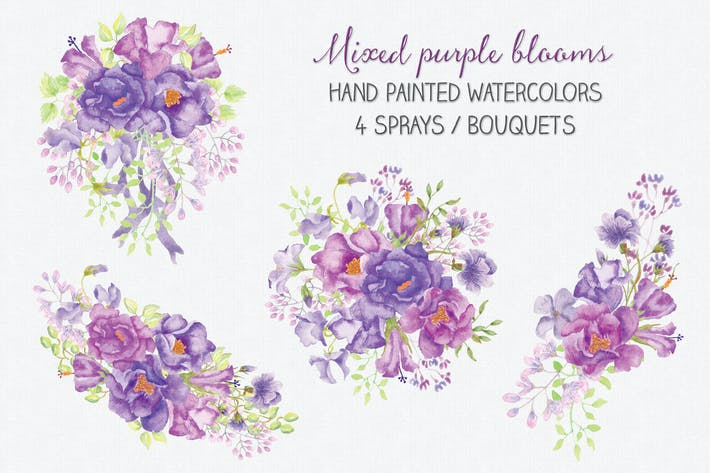 Thumbnail for Floral Sprays of Mixed Purple Blooms